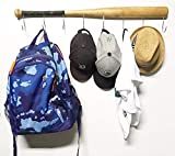 KT Bats Wall Mounted Hanging Hardwood Baseball Bat Hat Coat Jersey & Cap Rack Display: Useful & Unique Gift Idea for Baseball Lovers or the Perfect Hallway Mudroom Organization System l Camouflage