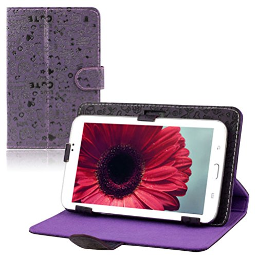 Universal Premium Leather Folio Cover Stand Comfortable Case For 7'' Android Tablet PC MID by Iusun (Purple)