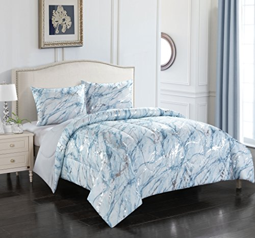 Pop Shop Marble 3 Piece Comforter Set, Full/Queen, Silver (Silver Blue Comforter And)