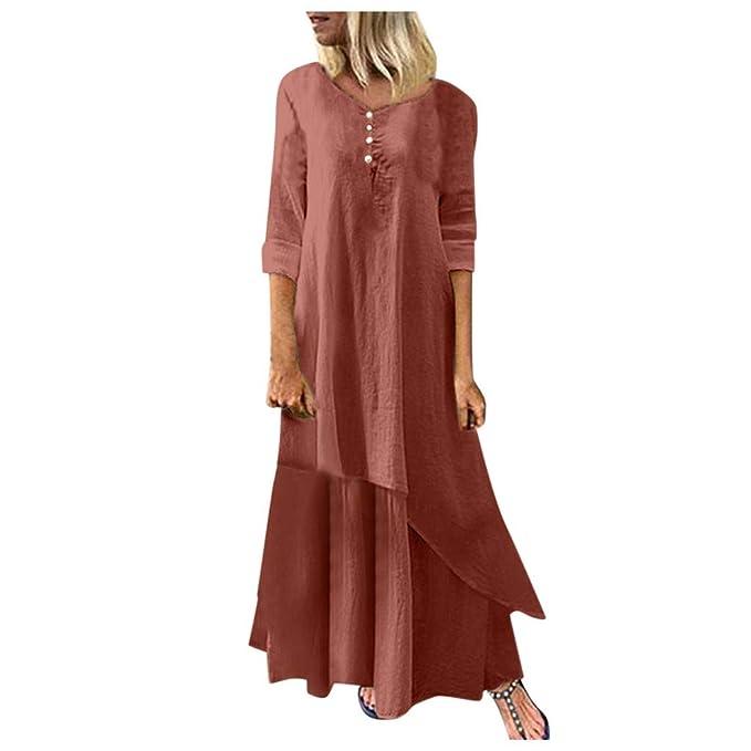 Vestidos Largos de Lino Suelto para Mujer Vestido Fluido con ...