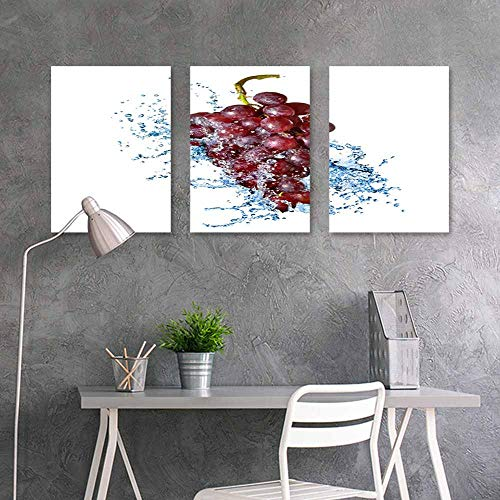 BDDLS Printing Oil Painting,Grapes Washed with Water Easy Care Oil Painting 3 Panels,16x31inchx3pcs White (3)