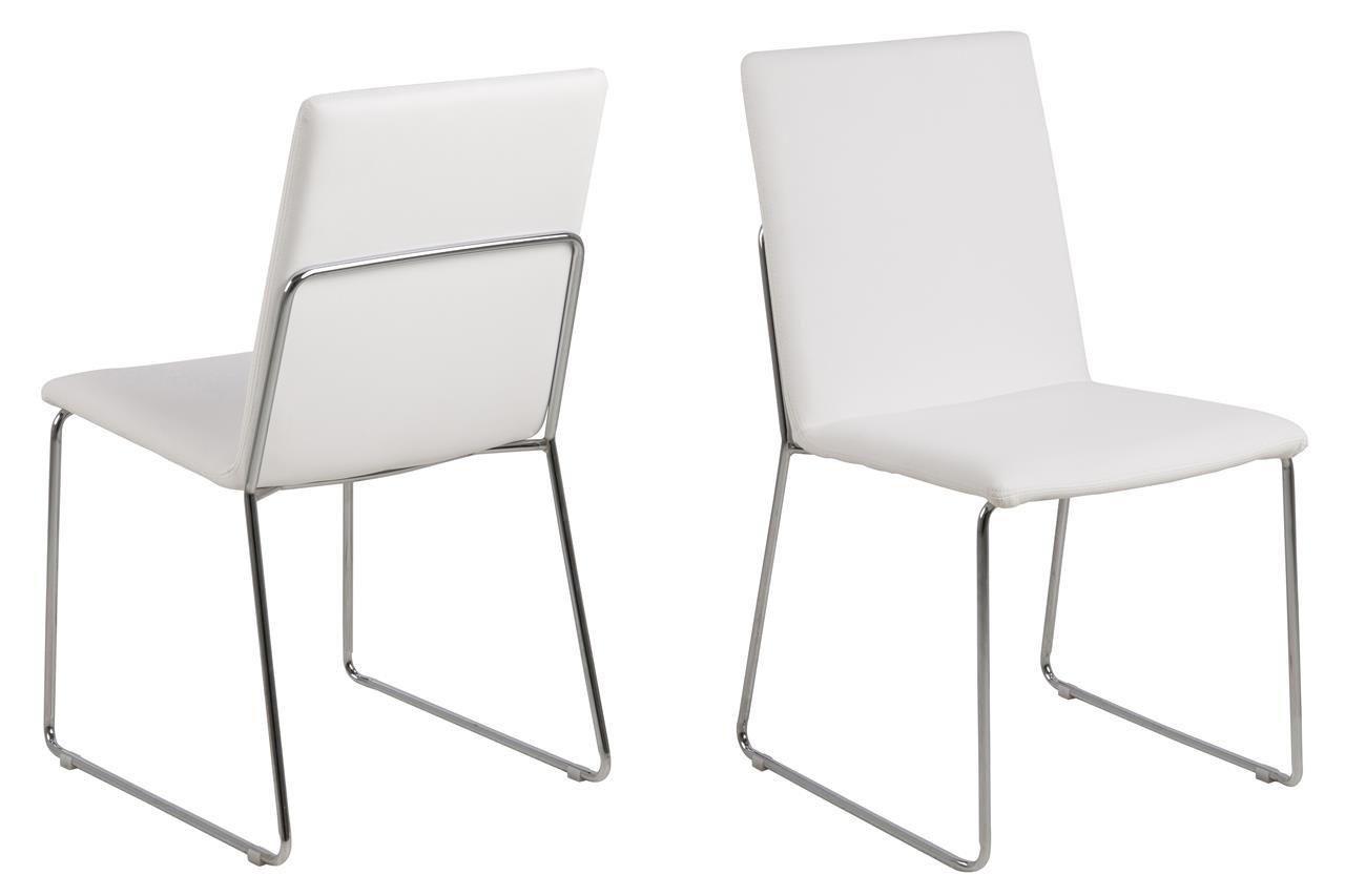 Designer Esszimmerstühle 12 x esszimmerstuhl weiß kunstleder mit chromgestell moderner stuhl