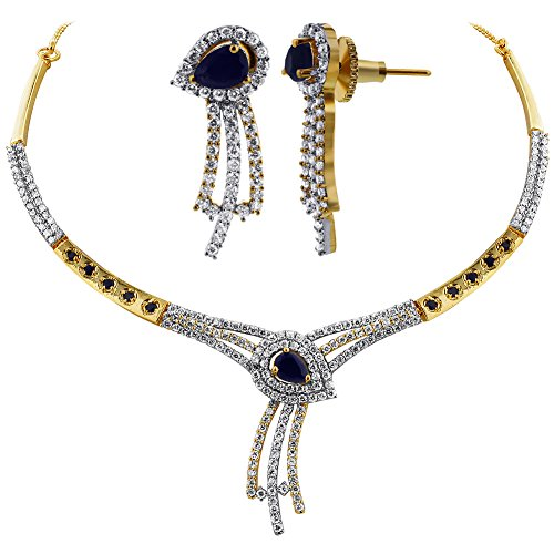 - Memon Jewelers Gem Avenue Gold Plated Blue Sapphire with CZ Accents Bollywood Indian Earrings Necklace Set