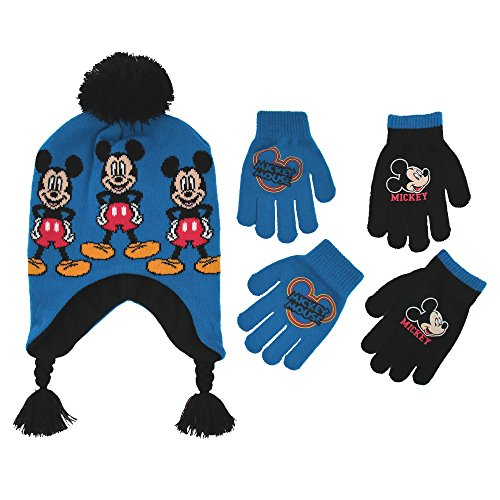 Disney Little Boys Mickey Mouse Hat and 2 Pair Gloves or Mittens Cold Weather Accessory Set, Ages 2-7 (Little Boys Age 4-7 Hat & 2 Pair Gloves Set, Blue)