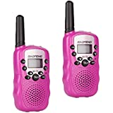 Lennov Baofeng BF-T3 Kids Walkie Talkies Birthdays Gifts, Mini Two Way Radios Toys for Age 3-12 Years Old Boys Girls Children UHF 22 Channels (2 Pack, Pink)