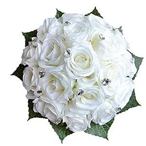Abbie Home Bride Bouquets - Wedding Flower Bouquet Handmade Rose Rhinestone Pearl Bridal Artificial Silk Flower with Different Design (White) 25