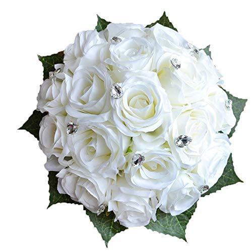 (Abbie Home Bride Bouquets - Wedding Flower Bouquet Handmade Rose Rhinestone Pearl Bridal Artificial Silk Flower with Different Design (White))