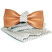 Mens wooden bow tie with pocket square. Wood bow tie. Handmade bow tie.