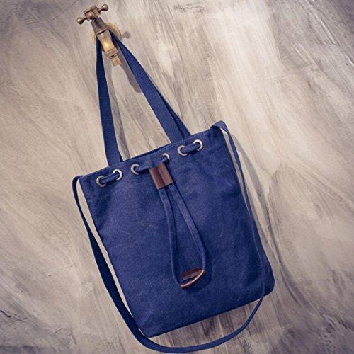 ee41ac977c4 ... Bolso Bandolera Mujer Grande de Lona Bolsos de Hombro Colores para Niña  por ESAILQ YU Azul ...