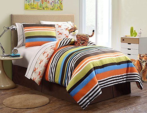 9 Pc Reversible Boys Tiger Bed in a Bag, Full Size Bedding, By Karalai Bedding Collection
