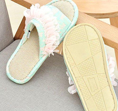 Pantofole Da Camera Da Letto Di Catteri Da Donna In Pizzo Bianco