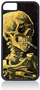 Vincent Van Gogh Skull of A Skeleton With A Burning Cigarette- Case for the Apple Iphone 6 Only-Hard Black Plastic Outer Shell BY RANDLE FRICK by heywan