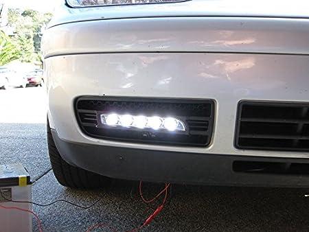 Depo Porsche estilo LED de conducción diurna Luz antiniebla parachoques Trim ajuste para 2006 - 2008 Audi A4 B7 chasis: Amazon.es: Coche y moto