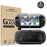 (4-Pack) Screen Protectors for Sony PlayStation Vita 2000 with Back Covers, Akwox 9H