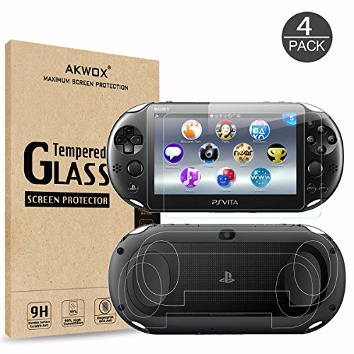 (4-Pack) Screen Protectors for Sony Playstation Vita 2000 with Back Covers, Akwox 9H Tempered Glass Front Screen Protector and HD Clear Crystal PET Back Screen Protective Film for PS Vita -