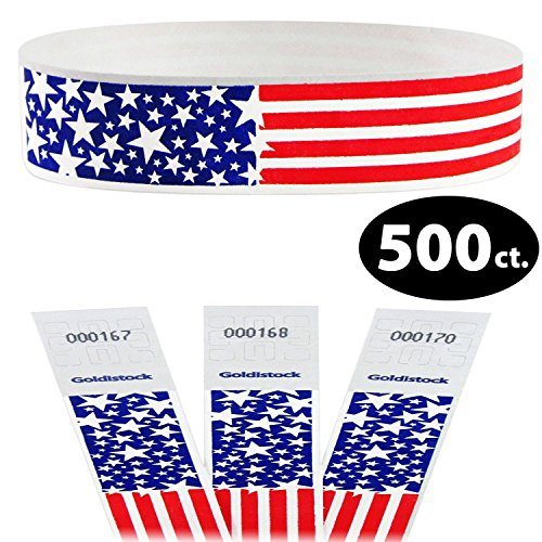 """Goldistock Select - Star Burst USA Patriotic Flag - 3/4"""" Tyvek Wristbands- 500 Count - Event Identification Bands (Paper - Like Texture) - Red White & Blue"""