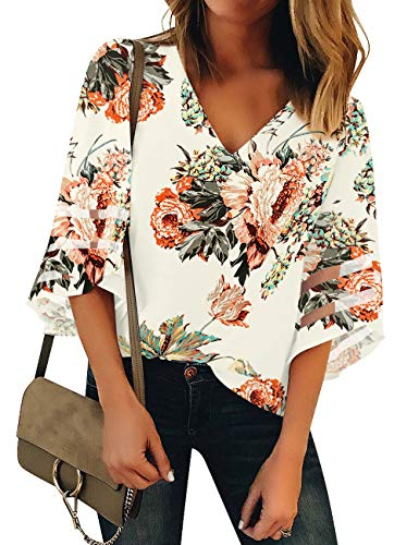 (Vetinee Women's Ivory Flower 3/4 Bell Sleeve Shirt Mesh Panel Blouse V Neck Casual Loose Tops Small (US 4-6))