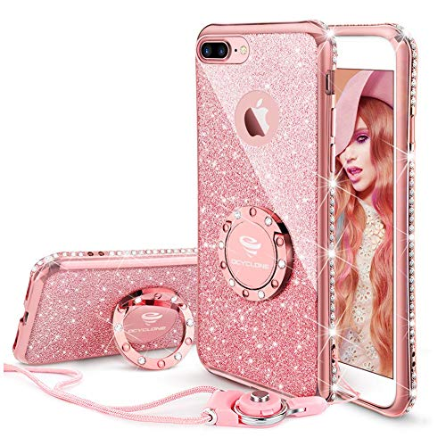 Well Dia (iPhone 8 Plus Case, iPhone 7 Plus Case, Glitter Cute Phone Case Girls with Kickstand Bling Diamond Rhinestone Bumper Ring Stand for Apple iPhone 8 Plus / 7 Plus Case for Girl Women - Rose Gold [Pink])