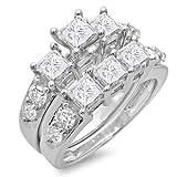 3.10 Carat (ctw) 14K Gold Princess & Round Diamond Ladies Bridal 3 Stone Engagement Ring Set 3 1/10 CT