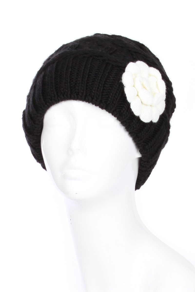 AN Black Winter Beanie Hat for Women Vintage Inspired