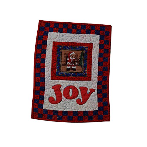 Quilted Teddy Bear Applique Wall Hanging Christmas Joy Modern Design Christmas Patchwork Wall Hangings
