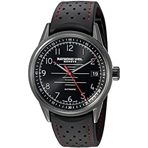 Raymond Weil Men's 'Freelancer Pilot' Swiss Automatic Stainless Steel and Rubber Casual Watch, Color:Black (Model: 2754-BKR-05200)