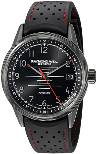 Raymond-Weil-Mens-Freelancer-Pilot-Swiss-Automatic-Stainless-Steel-and-Rubber-Casual-Watch-ColorBlack-Model-2754-BKR-05200