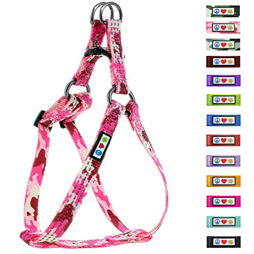 (Pawtitas Reflective Step in Dog Harness or Reflective Vest Harness, Comfort Control, Training Walking of Your Puppy/Dog Small Dog Harness S Pink Camouflage Dog)