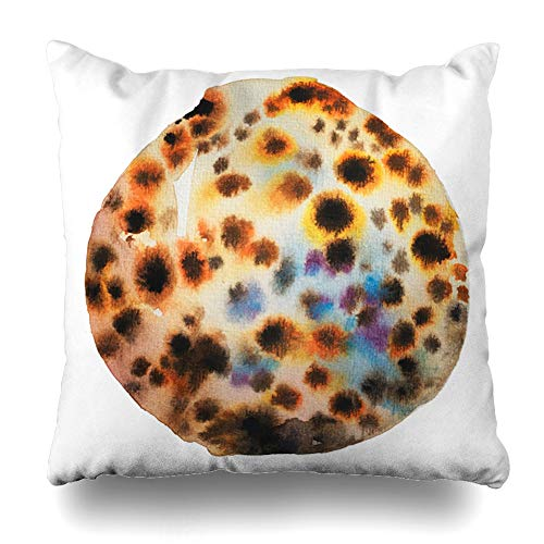 Ahawoso Throw Pillow Cover Pillowcase Summertime Watercolor Aqua Watercolour Painting Tiger Cowrie Seashell Nature Aquatic Beach Drawing Design Sea Home Decor Square 16x16 Zipper Cushion -