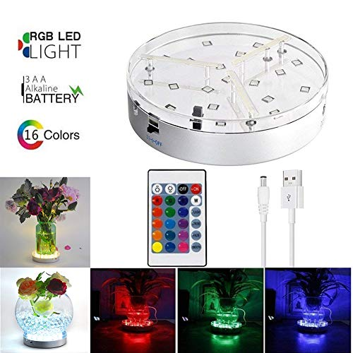 Light 3 Base - 6inch Under Vase Lights,Multicolors RGB LED Table Lights Vase Lights 3 AA Batteries Operated Base with Remote for Halloween Party Wedding Home Shisha Hookah Decor(3 AA Batteries not Included)