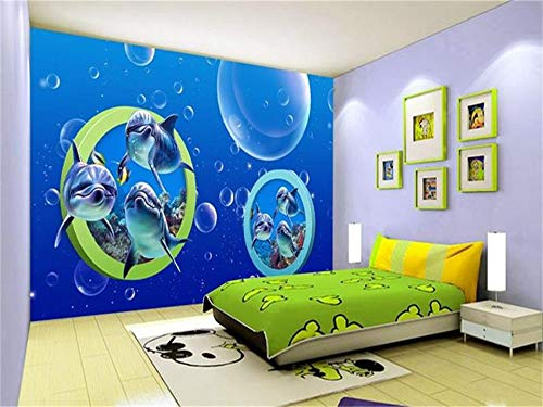 - Duleen 3D Mural Wallpaper Custom Made Decoration Kids Dolphin Parade Bubbles Painting Sofa Tv Background Wall Sticker 350Cmx270Cm|137.79(in) X106.29(in)