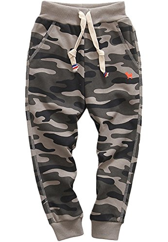 KISBINI Boy's Cotton Camouflage Sweatpants Sports Pants for Children K-Grey 5T - School Kids Sweatpants