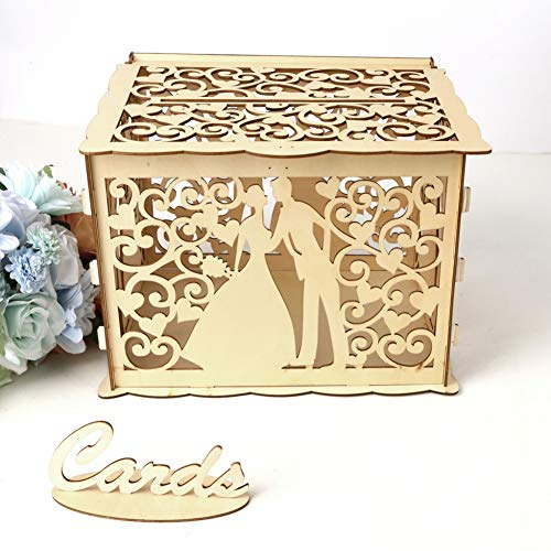 baohuquhansijin Hollow Carved Design DIY Wedding Ceremony Card Box with Lock and Card Sign Gift Card Holder for Reception Wedding Anniversary Party Decorations Jubilee Golden Silver Wedding -