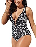 Women's Black Sexy Plus Size Rosa Floral Print One Piece Swimsuit,Plunge Neckline with Lace Up Detail Swimwear (Black,A18034,XXL)