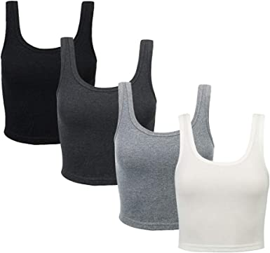 Bolonbi - Camiseta de tirantes de algodón para mujer, sin mangas, espalda cruzada, 4 piezas Multicolor multicolor L: Amazon.es: Ropa y accesorios