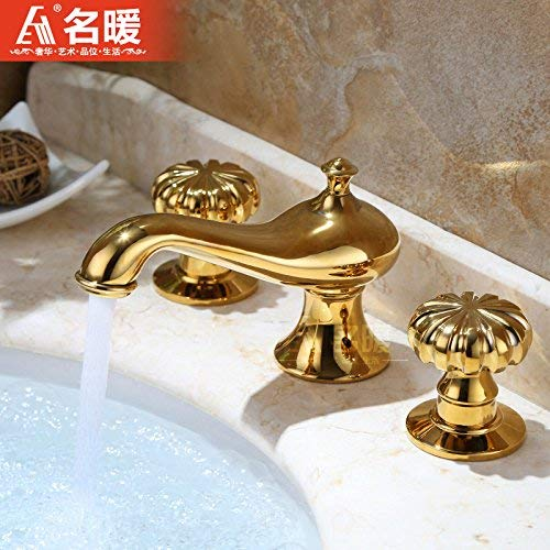 Haiyuguagao Basin Mixer Tap Bathroom Sink Faucet Euro-copper gold three-cold water faucet 8-inch split double-the-table sink vanity basin faucet sink faucet tool