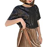 Mocure Women Medium-Long Loose Sequins T-Shirt Solid Colors Blouse Hip Hop T-Shirts