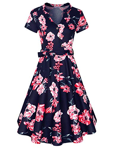 Plaid And Floral Dress - Diphi LiLi Women's V Neck Long/Short Sleeve Button Decoration Plaid Swing Dress (Floral-Blue with red Flower, X-Large)