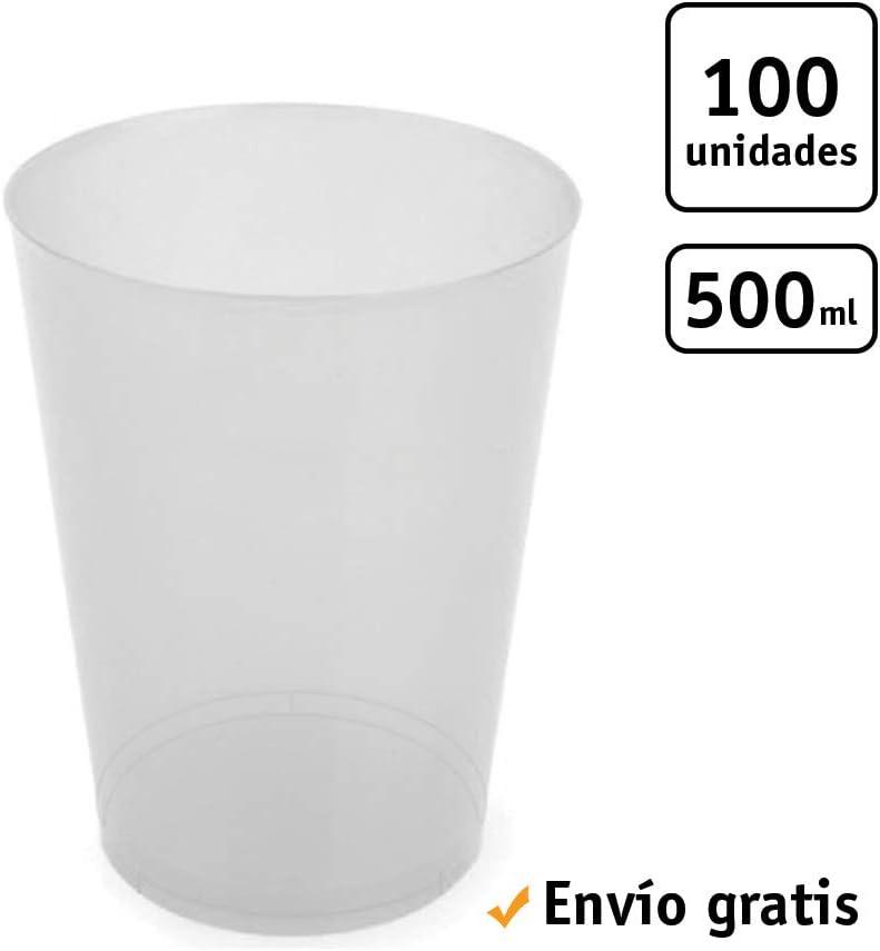 TELEVASO - 100 Unidades - Vaso Sidra 500 ml Reutilizable - Polipropileno (PP) - Color traslúcido - Vaso ecológico Libre de BPA, Ideal para Cerveza, cubatas, Agua