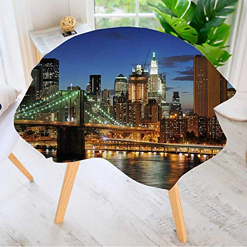 Leighhome Round Tablecloth Polyester- New York City Brooklyn Bridge Downtown at Night Great for Buffet Table, Parties, Holiday Dinner & More 50