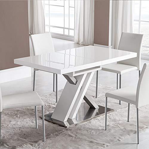 NOUVOMEUBLE Mesa Extensible lacada Blanca Design Montana: Amazon ...