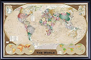 Amazon framed executive style world map winkel tripel framed executive style world map winkel tripel projection 24x36 poster dry mounted in gumiabroncs Choice Image