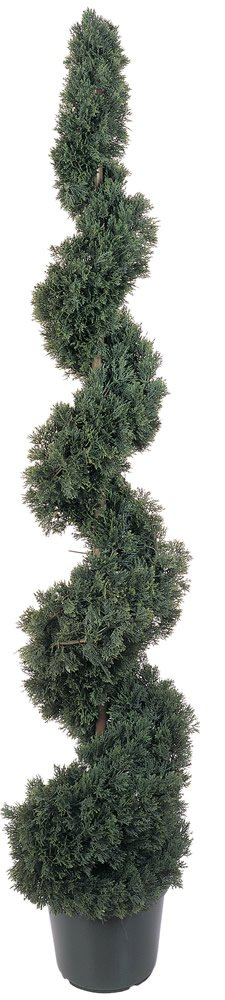 Nearly Natural 5166 Cedar Spiral Silk Tree Indoor/Outdoor, 5-Feet, Green