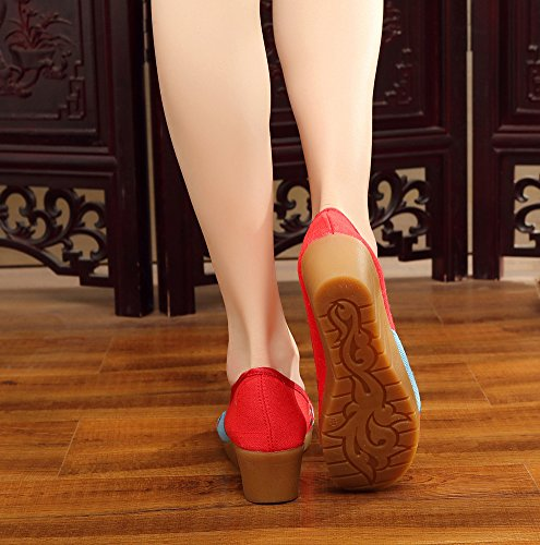 Chaussures Bateau Noeud Plat Janes avec Ballerine Mary Chaussures Fleur Icegrey Broderie Fait Femme Main Boucle f1gBgn