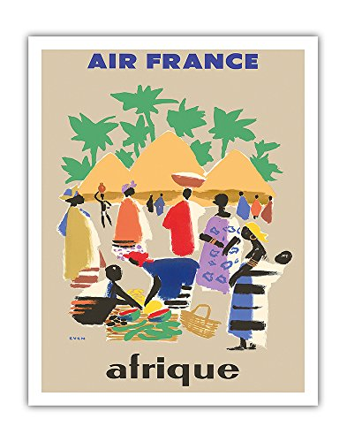 Pacifica Island Art Afrique (Africa) - France - African Village - Vintage Airline Travel Poster by Jean Even c.1950s - Fine Art Print - 11in x 14in