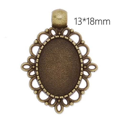 - New Design Antique Silver Plated Lace Edge Pendant Trays with 13x18mm Oval Blank Bezel-20pcs/lot