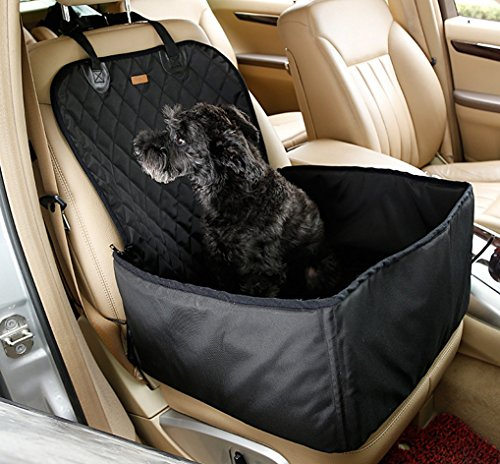 Pet Car Seat / Pet Booster Seat 18 x 14 x 12 Inches 2 in 1 carrier basket - Folds & Fits In Compact Carry Bag(Black)