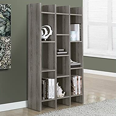 Monarch Specialties Dark Taupe Reclaimed-Look  Horizontal/Vertical Etagere, 60-Inch