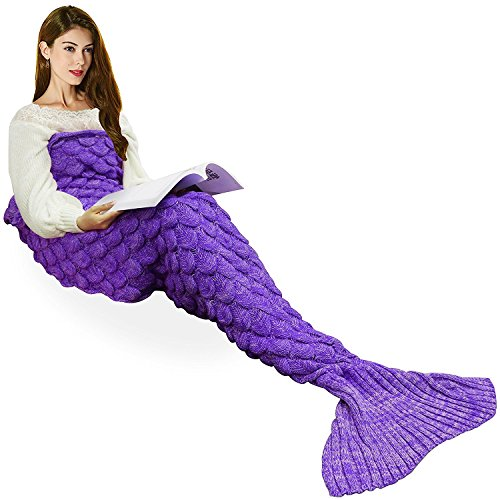 Handmade Knitted Mermaid Tail Blanket,T-tviva All Seasons Warm Bed Blanket Sofa Quilt Living Room Sleeping Bag for Kids and Adults (72.8″x35.5″, Violet1)