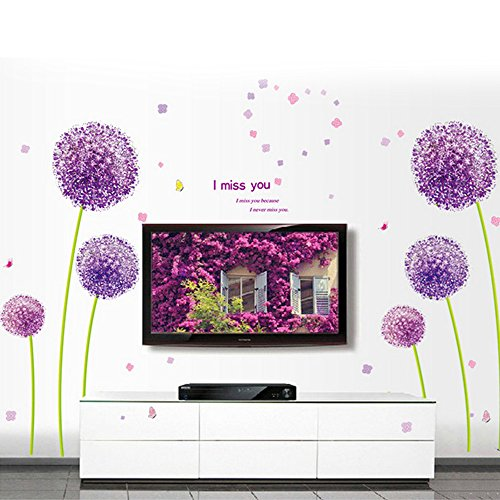 coffled-cute-tv-background-wall-decal-stickerspurple-dandelion-flowers-television-background-wall-de